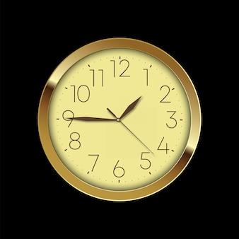 Orologio da parete dorato di lusso vintage su sfondo nero. vettore