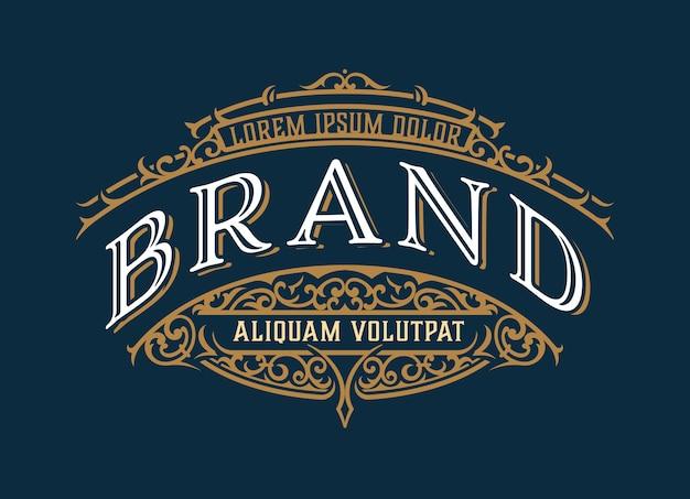 Design del modello di logo di lusso vintage per etichetta, telaio, tag dei prodotti. design retrò emblema.