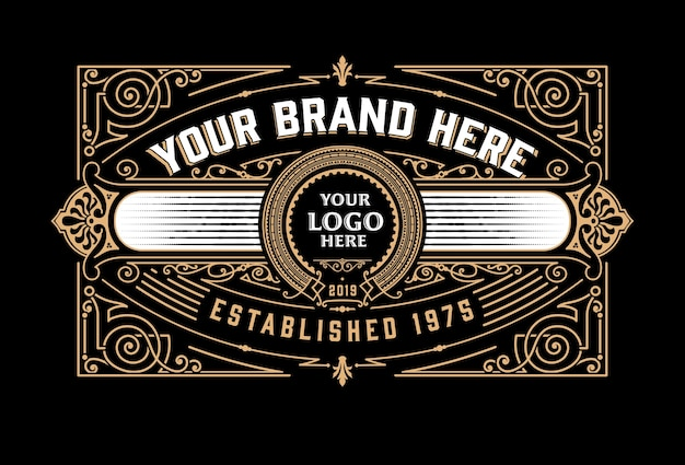 Design del modello di logo di lusso vintage per etichetta, telaio, tag dei prodotti.