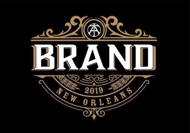 Modello di logo di lusso vintage per etichetta, cornice, tag dei prodotti.
