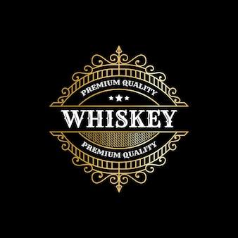 Etichette vintage di lusso con cornice reale con logo per la confezione di bottiglie di bevande alcoliche di whisky di birra desig
