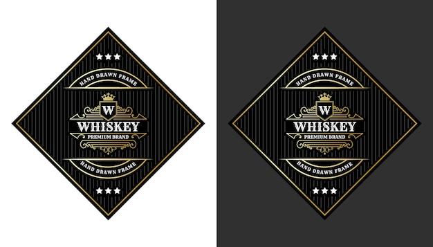 Etichette vintage di lusso con cornice reale con logo per l'imballaggio di bottiglie di bevande alcoliche di whisky di birra