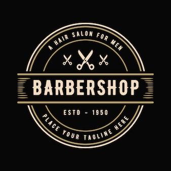 Logo antico occidentale in stile vintage di lusso per parrucchiere e parrucchiere