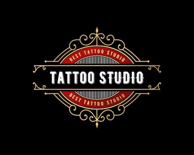 Logo lettering studio tatuaggio di lusso vintage con cornice ornamentale decorativa