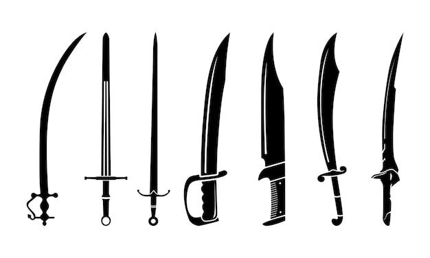 Collezione di ispirazione di disegno vettoriale di sagoma di spada di lama di machete vintage