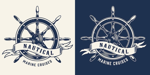 Emblema monocromatico vintage da crociera marina con ruota della nave