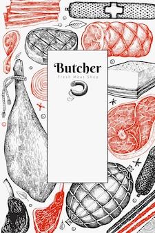 Design di prodotti a base di carne vintage. prosciutto disegnato a mano, salsicce, prosciutto, spezie ed erbe aromatiche.