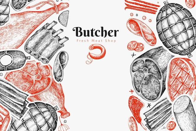 Modello di progettazione di prodotti a base di carne d'epoca. prosciutto disegnato a mano, salsicce, prosciutto, spezie ed erbe aromatiche.