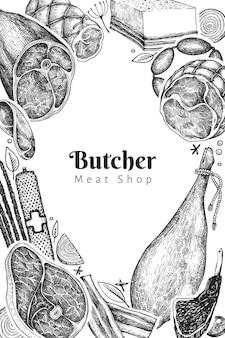 Modello di progettazione di prodotti a base di carne d'epoca. illustrazione retrò.