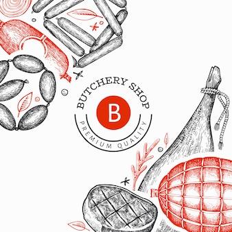 Modello di prodotti a base di carne vintage. prosciutto, salsicce, jamon, spezie ed erbe disegnate a mano. ingredienti alimentari crudi.