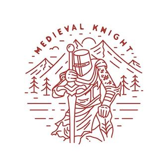 Distintivo di monoline vintage cavaliere medievale