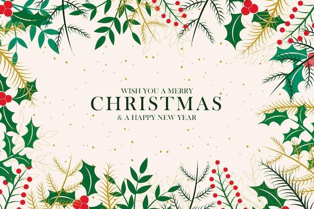 Cornice vintage di buon natale con decorazioni natalizie