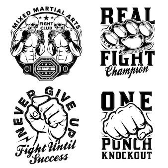 Set di emblemi di arti marziali miste vintage