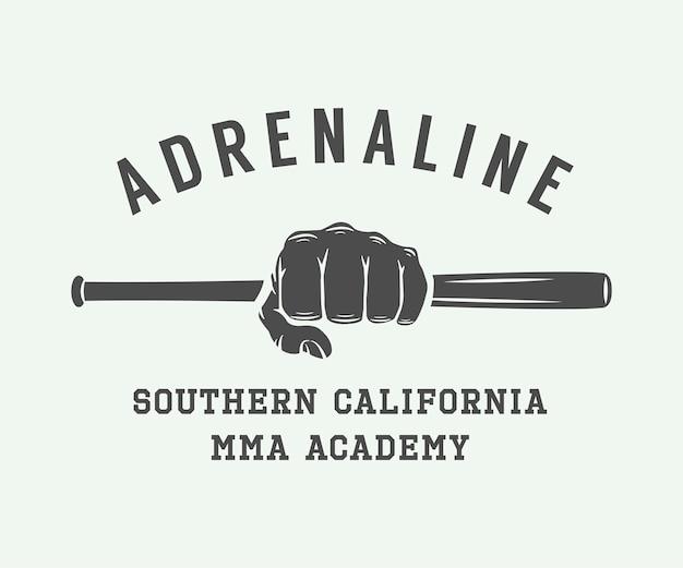 Logo, distintivo o emblema di arti marziali miste vintage. arte grafica.