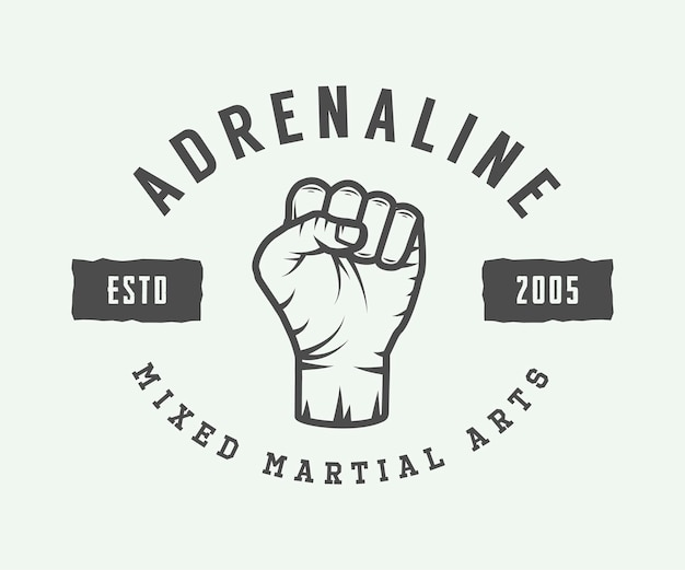 Logo, distintivo o emblema di arti marziali miste vintage. illustrazione vettoriale. arte grafica monocromatica.
