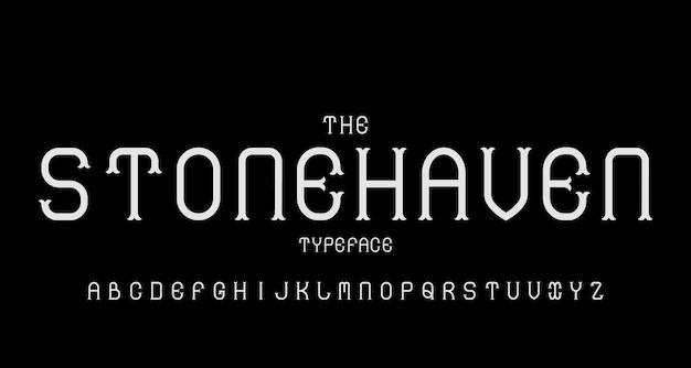 Carattere alfabeto moderno vintage. tipografia di carattere tipografico con concetto retrò per etichetta, titolo, logo, poster ecc.
