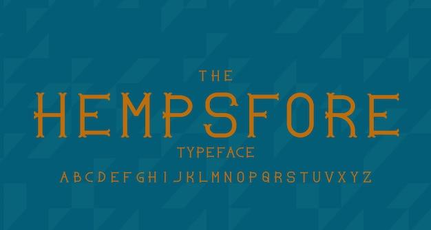 Carattere alfabeto moderno vintage. tipografia di carattere tipografico con concetto vintage per etichetta, titolo, logo, poster ecc.