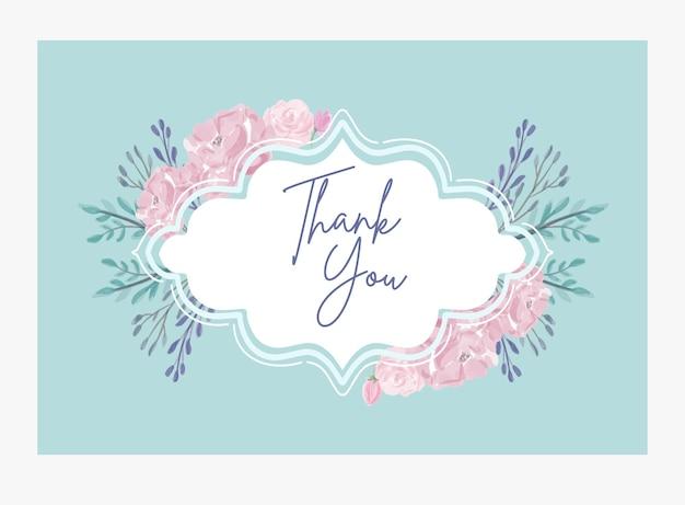 Biglietto di ringraziamento moderno vintage con disegno floreale ad acquerello pittura vettore