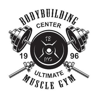 Logo fitness monocromatico vintage con bilancieri incrociati e peso