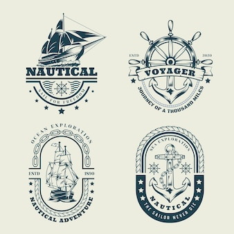 Set logo nautico monocromatico vintage