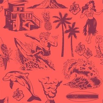 Modello di tessile senza soluzione di continuità monocromatica vintage con surf, ragazza di hula, onde, estate, spiaggia, palme, fiori delle hawaii, delfino, casa sulla spiaggia, vulcano, pappagallo illustrazione di design stampa abbigliamento personalizzato