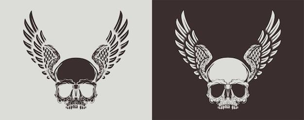 Teschio monocromatico vintage con le ali