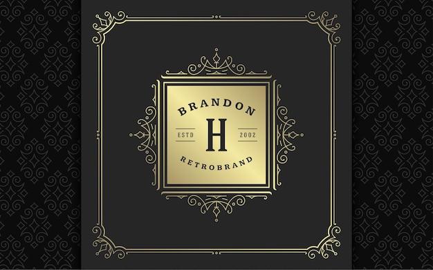 Monogramma vintage logo elegante fiorisce line art graziosi ornamenti in stile vittoriano modello di progettazione