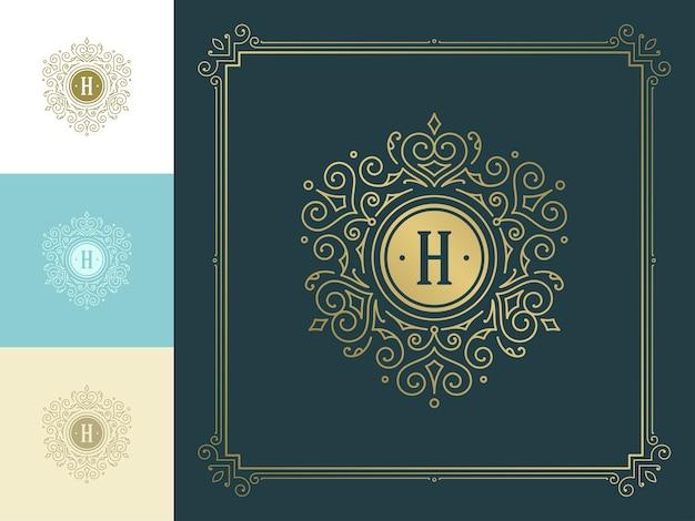 Monogramma vintage logo elegante fiorisce line art graziosi ornamenti modello in stile vittoriano.
