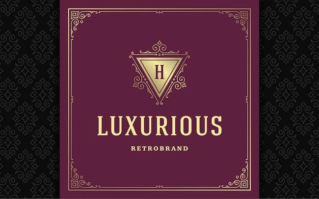 Monogramma vintage logo elegante fiorisce line art graziosi ornamenti in stile vittoriano template vettoriale design