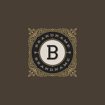 Modello di logo monogramma vintage con elementi calligrafici elegante ornamento fiorisce.