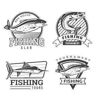 Set di badge per pesca monotone vintage