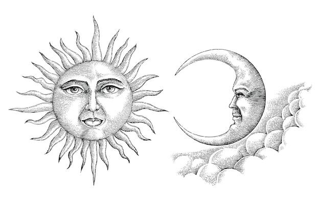 Mano d'annata della luna e del sole che disegna stile d'annata
