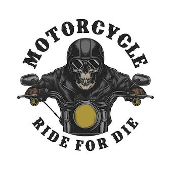 Moto club vintage con logo teschio vettore premium
