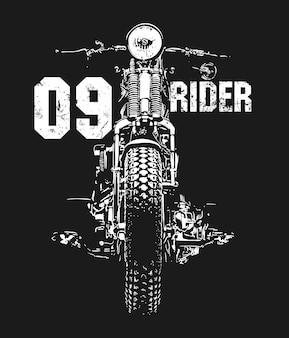 Disegno della maglietta di vettore disegnato a mano del motociclo dell'annata