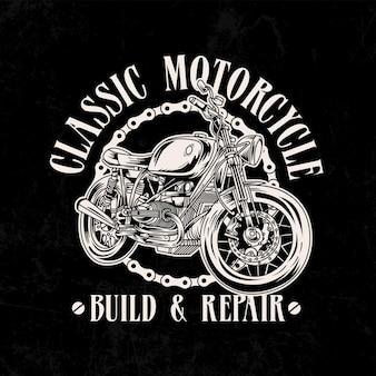 Illustrazione logo moto d'epoca con catena