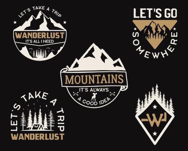 Loghi vintage dei campi di montagna, set di distintivi di avventura.
