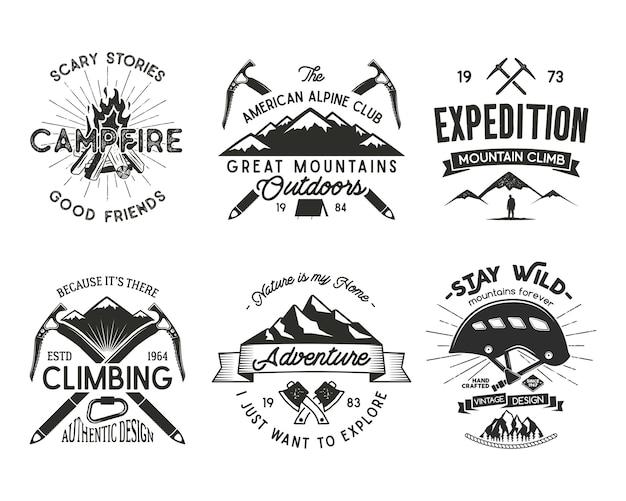 Distintivi di alpinismo vintage impostati. logo di arrampicata, emblemi vintage.