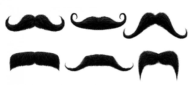 Baffi vintage. baffi retrò divertenti, baffi finti e illustrazione isolata baffi capelli ricci