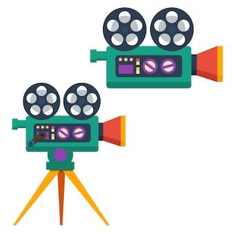Cinepresa vintage in stile piano isolato su priorità bassa bianca. elemento di design per poster, biglietti, striscioni, volantini.