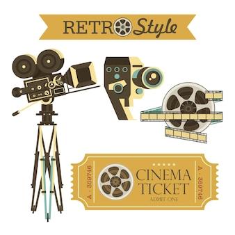 Macchine fotografiche d'epoca, biglietti del cinema, film. insieme di elementi di design vintage vettoriale. isolato su sfondo bianco.