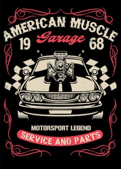 Muscle car d'epoca con un grande motore super caricatore