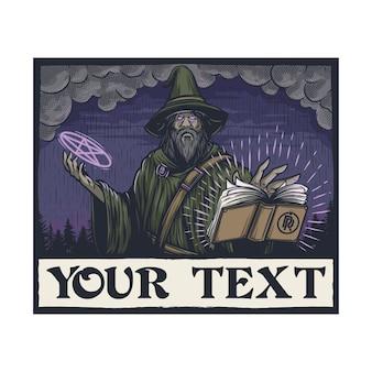 Vintage misterioso mago maschio ortografia con personaggi di libri e pentagrammi vettore premium