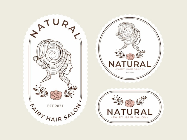 Modello di logo vintage bellezza naturale