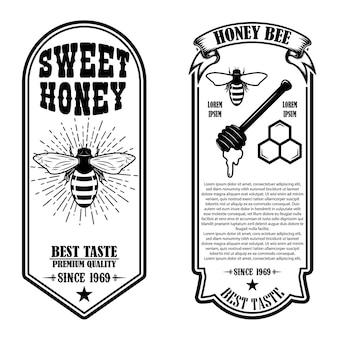 Modelli di volantino vintage miele naturale Vettore Premium