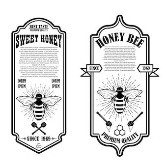 Modelli di volantino vintage miele naturale