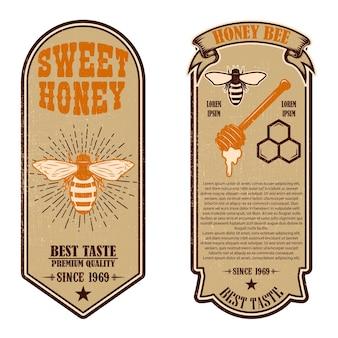 Modelli di volantini vintage miele naturale
