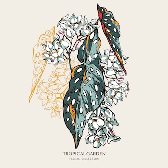 Cartolina d'auguri tropicale naturale d'annata con la begonia di fioritura. foglie esotiche alla moda