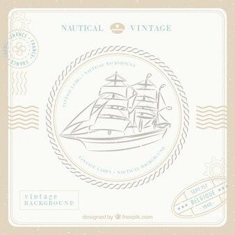 Sfondo nautica d'epoca con la nave