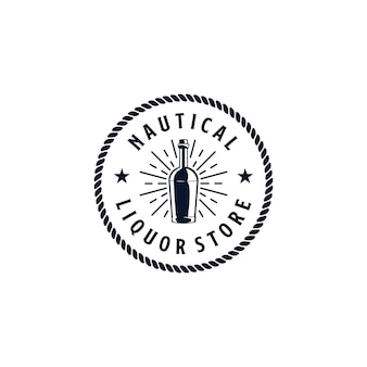 Design del logo del negozio di liquori nautici vintage