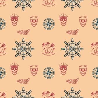 Motivo nautico vintage senza soluzione di continuità
